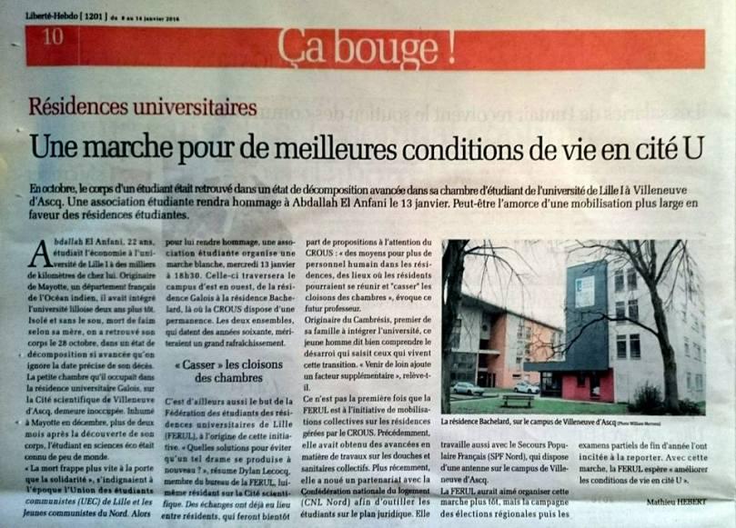 Article de Liberté Hebdo du 08/01